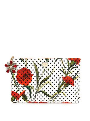 Carnation and polka-dot print zip pouch