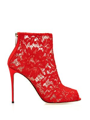 Red lace boots