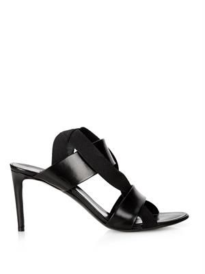 Leather and elastic sandals