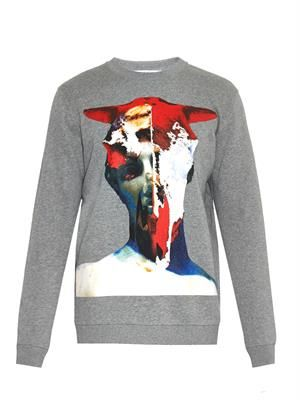 Cuban-fit statue-print cotton sweatshirt
