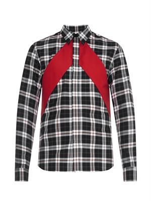 Checked and red-panel shirt