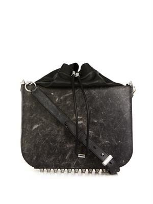 Distressed leather flat bucket bag