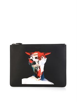 Bull Statue-print leather pouch