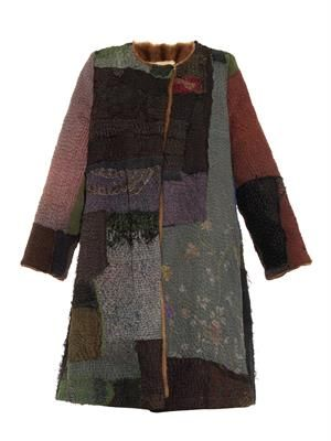 Vintage patchwork fur-lined swing coat