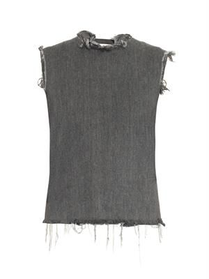 Frayed-edge open-back denim top