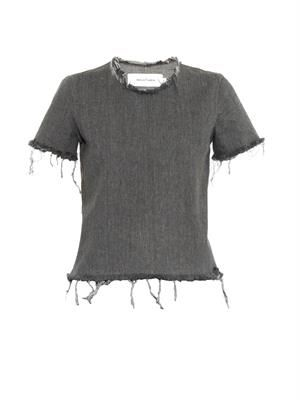 Frayed-edge denim top