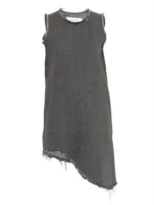 Frayed-edge sleeveless denim dress