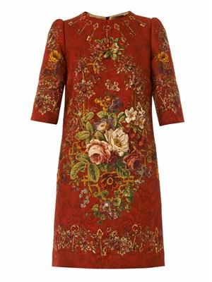 Floral and key-print brocade dress