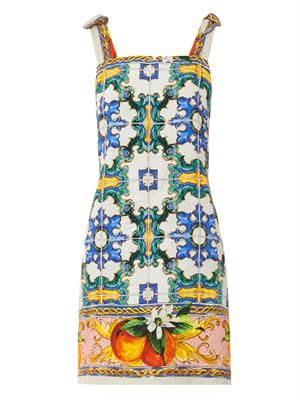 Sicilian orange mosaic-print brocade dress