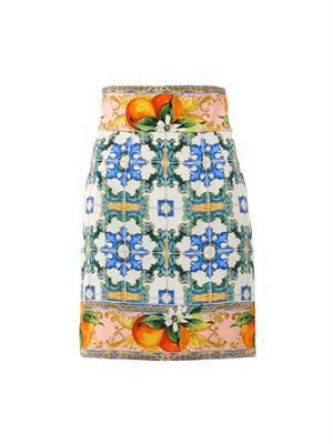 Sicilian orange mosaic-print skirt