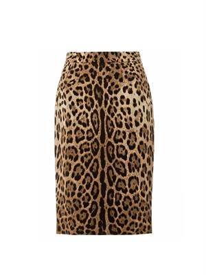 Leopard-print wool pencil skirt