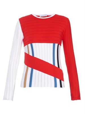 Colour-block stretch-wool sweater