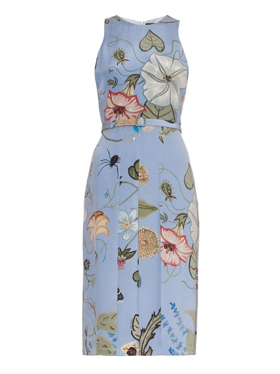 Floral Knight-print silk-cady dress