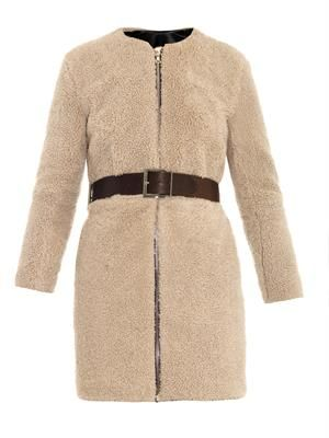 Shearling and leather-belt coat