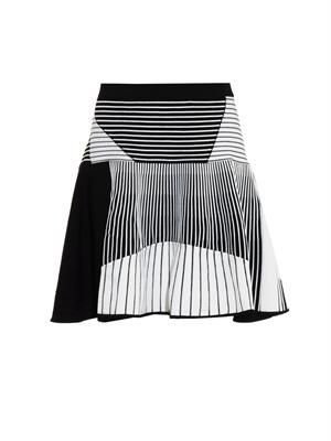 Striped knitted skater skirt
