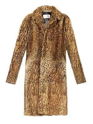 Single-breasted animal-print fur coat