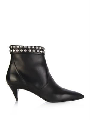 Cat stud-embellished leather ankle boots