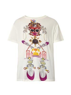 Clocktopia-print jersey T-shirt