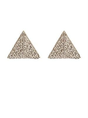White-diamond & white-gold pyramid earrings