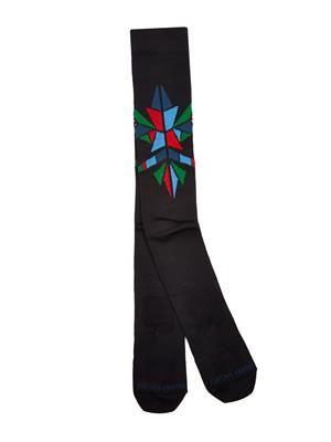 Geometric intarsia knee socks