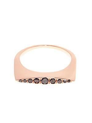 Black-diamond & rose-gold Convex ring