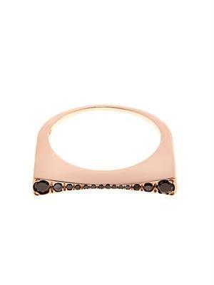 Black-diamond & rose-gold Concave ring