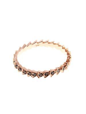 Black-diamond & rose-gold Trace ring