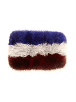 Tri-colour fox-fur snood