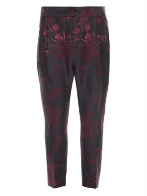 Floral-jacquard linen and silk-blend trousers
