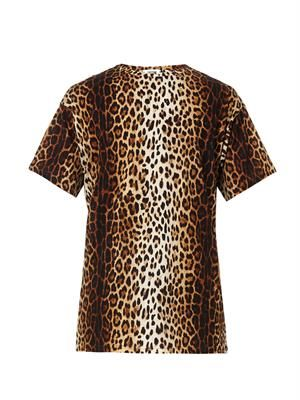 Leopard-print cotton T-shirt