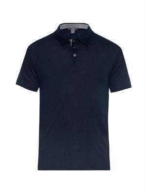 Melange linen polo shirt