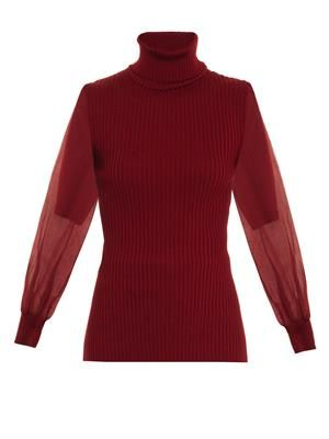 Contrast silk-sleeve sweater
