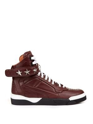 Tyson stars leather high-top trainers