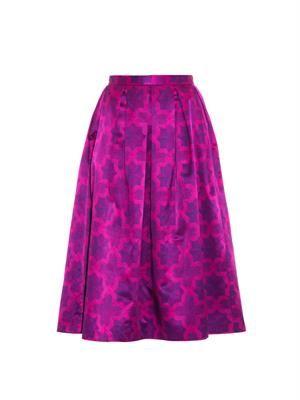 Parquet-print cotton-blend skirt