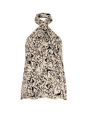 Silk doodle-print halterneck top
