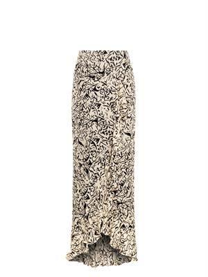 Silk doodle-print maxi skirt