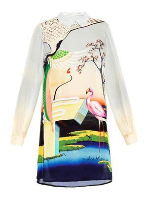 Flamingo-print silk shirt dress