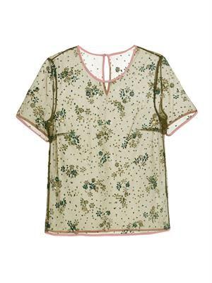 Floral-embellished tulle top