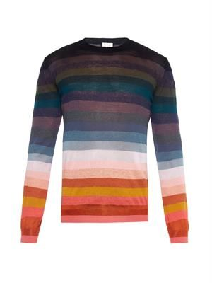Striped lightweight-knit sweater