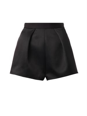 Pleat-front twill shorts