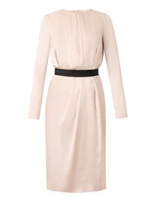 Draped-front satin dress