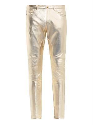 Metallic-leather biker trousers
