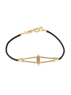 Diamond, yellow-gold & leather bracelet