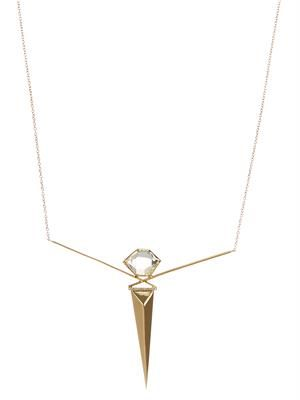 Diamond, diamond-quartz & gold necklace