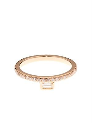 White-diamond & rose-gold pinky ring