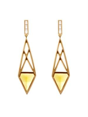 White-diamond, citrine & gold earrings