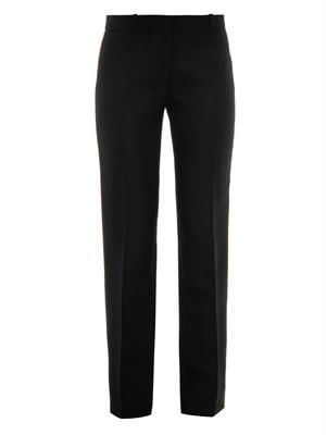 Crystal-embellished silk-cady trousers
