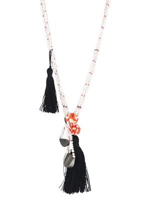 Pearl, onyx and bronze-plated necklace
