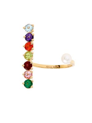Topaz, peridot, pearl & gold ring