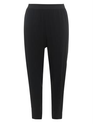 Elasticated-waist crepe trousers